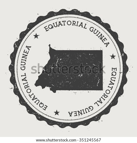 Equatorial Guinea. Hipster round rubber stamp with Equatorial Guinea map. Vintage passport stamp with circular text and stars, vector illustration