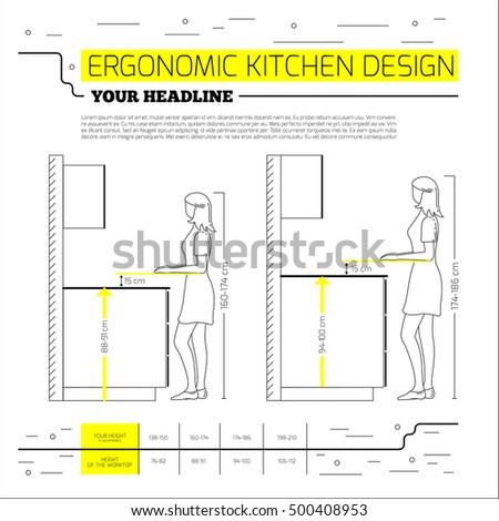 Ergonomics kitchen design vector illustration line stock for Kitchen design vector