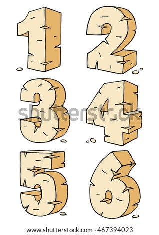 Eroded rock sandstone vector digits numbers font, from 1 to 6