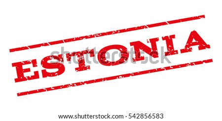 Estonia watermark stamp. Text caption between parallel lines with grunge design style. Rubber seal stamp with dust texture. Vector red color ink imprint on a white background.
