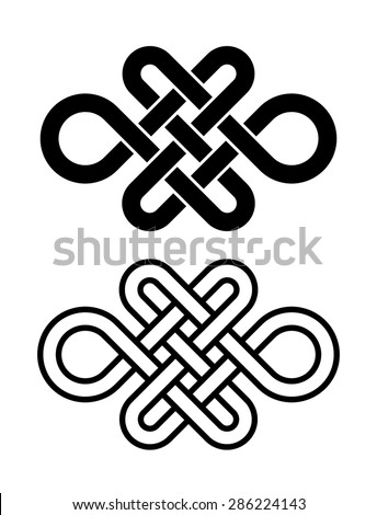 Eternity knot, infinite knot, endless knot, buddhist knot for logo, design