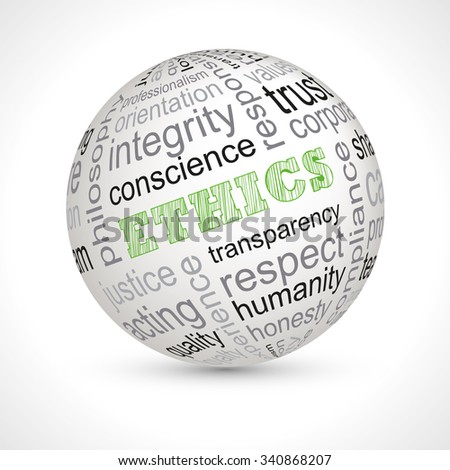 Ethics theme sphere with keywords full vector