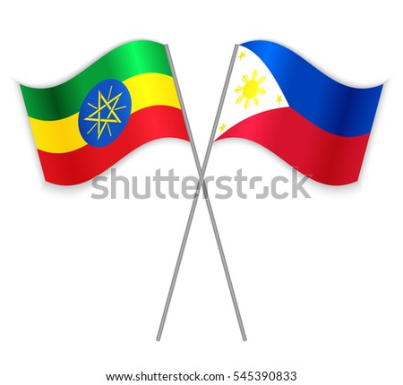 Ethiopian and Filipino crossed flags. Ethiopia combined with Philippines isolated on white. Language learning, international business or travel concept.