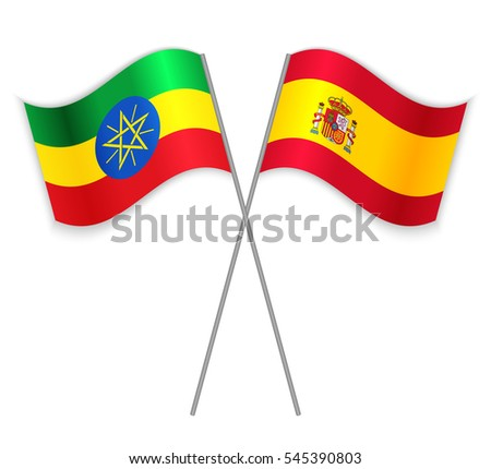 Ethiopian and Spanish crossed flags. Ethiopia combined with Spain isolated on white. Language learning, international business or travel concept.