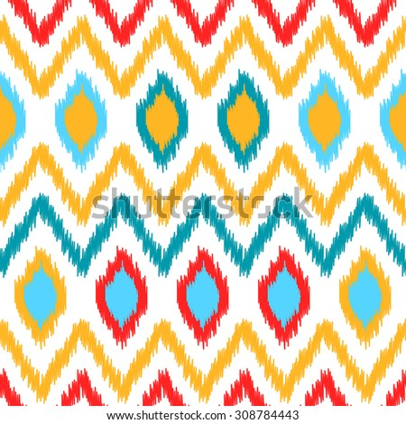 Ethnic ikat abstract colorful geometric pattern in white, yellow, red and blue, vector