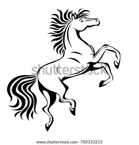 raster rearing unicorn illustration vector version stock illustration 89635267 shutterstock. Black Bedroom Furniture Sets. Home Design Ideas
