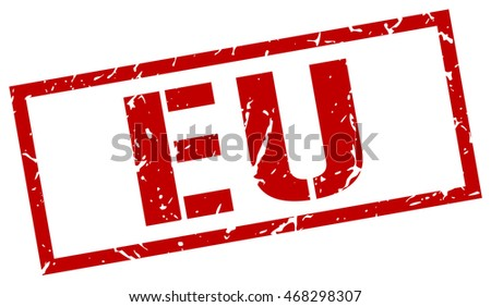 eu stamp. red square eu grunge stamp on white background. eu