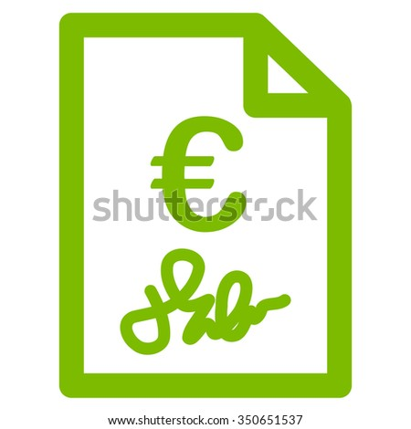 Euro Invoice vector icon. Style is flat symbol, eco green color, rounded angles, white background.