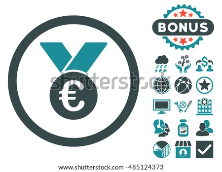 Euro Prize Medal icon with bonus pictures. Vector illustration style is flat iconic bicolor symbols, soft blue colors, white background.