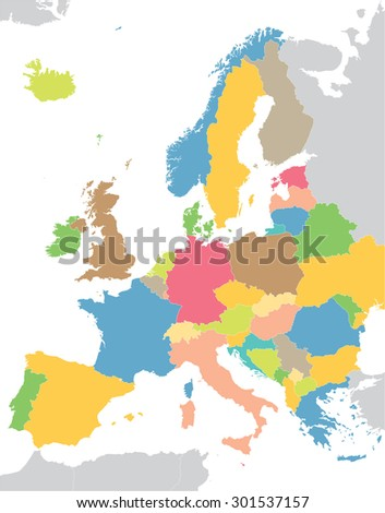 Europe colorful map