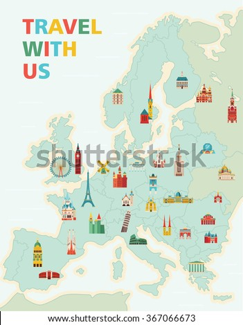 Travel Landmarks On World Map Vector Stock Vector - Us map with famous landmarks