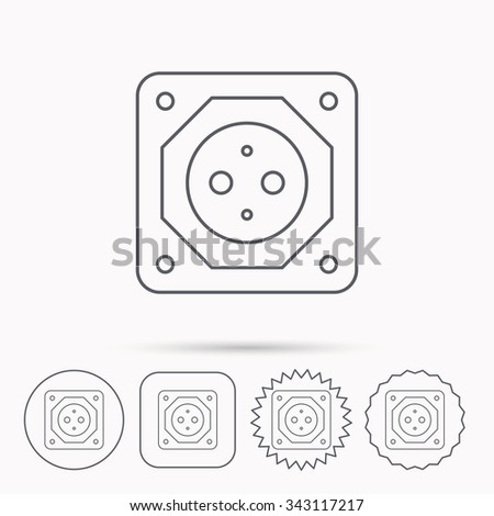 European socket icon. Electricity power adapter sign. Linear circle, square and star buttons with icons.