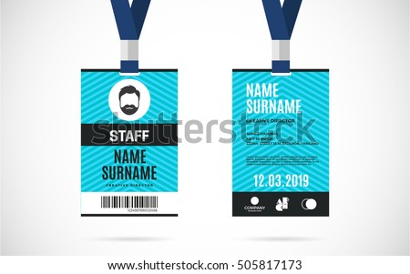 Event Staff Id Card Set Lanyard Stock Vector 505817173 - Shutterstock