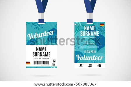 Event Staff Id Card Set Lanyard Stock Vector 507074416 - Shutterstock