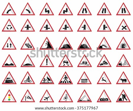 Every triangular road warning sign all editable./Road signs