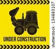 excavator cartoon over yellow background. vector illustration - stock vector
