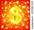Exciting financial success concept with gold dollar sign flying out of background with stars - stock vector