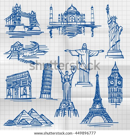 Exercise book sketch of hand drawn tourist places, template design element. Vector illustration