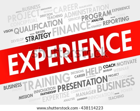 Experience word cloud, business concept