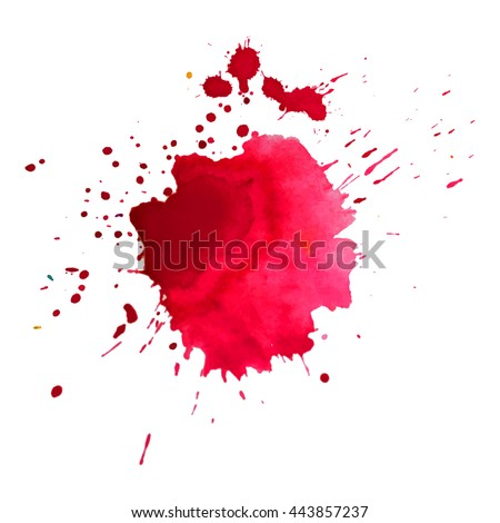 Expressive abstract watercolor stain with splashes and drops of red color. Design background for banner and flyers