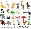 extra large ETS animals including kangaroos, ostrich, squirrel, coyote, deer. horse, panda, cobra, chameleon, a pelican, seagulls, albatross, raccoon, elephant, - stock vector