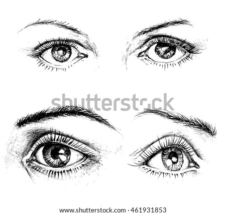 Eyes icons isolated. Carbon drawing vector set