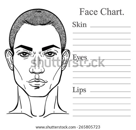 Face chart make up artist blank. Vector illustration. Beauty spa and massage. Handsome African descent or African American black man's head template.