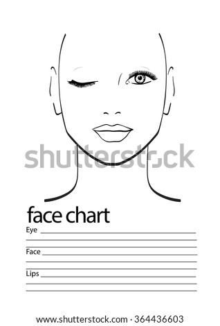 men face chart makeup artist blank stock vector 488710132