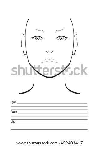 Face Chart Makeup Artist Blank Stock Vector 233066974 - Shutterstock