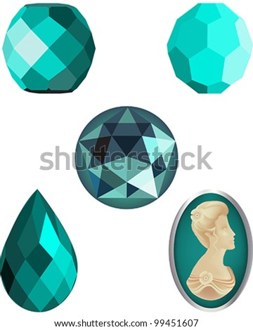 Faceted Turquoise Crystal Beads, four faceted vector beads and a cameo vector