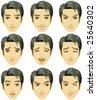 Facial expression of man (Asian Descent) - stock vector