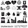 Factory,plants and pollution icons - stock vector