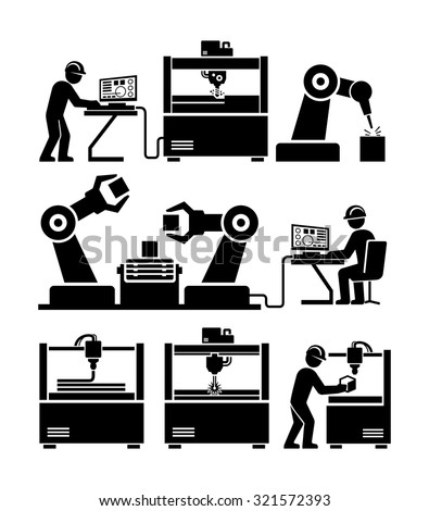 Stock Vector Factory Worker In Production Plant Working With Machinery Vector Icons on engineering air conditioner