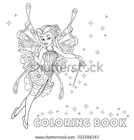 fairy coloringbook with sparkls and magic wand outlined beautiful fairy isolated on white background - Fairy Coloring Book