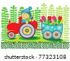 Fairy happy boy on the tractor with tulip - stock vector