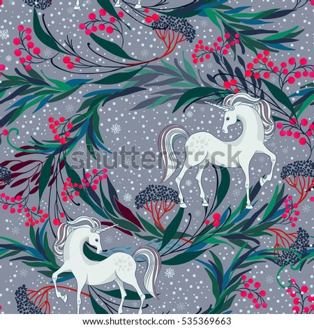 Fairy Magic Seamless Vector Pattern With Unicorns And Christmas Plants Berries The Mysterious