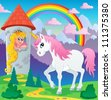 Fairy tale unicorn theme image 3 - vector illustration. - stock vector