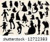 fairytale silhouettes - stock vector