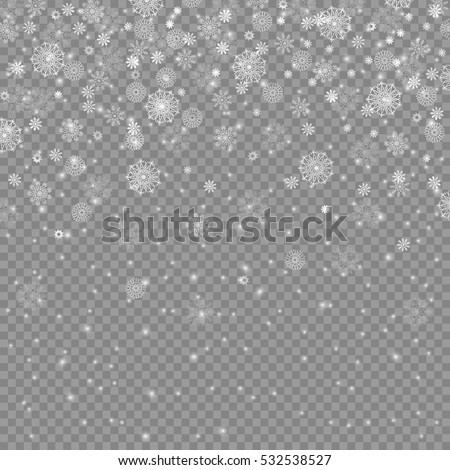 falling christmas decoration snow isolated on transparent background, snowflakes, snowfall for your winter design, vector illustration eps 10