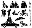Family Couple Tourist Travel Vacation Trip Holiday Honeymoon Icon Symbol Sign Pictogram - stock vector