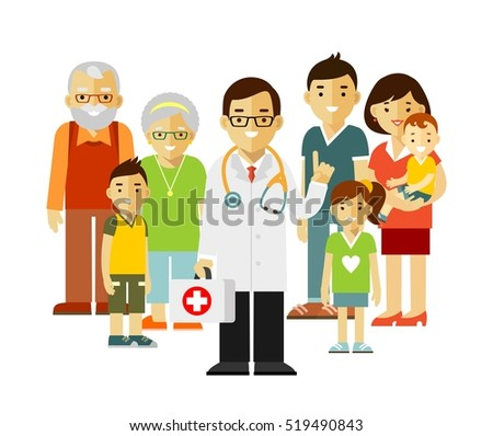 Family doctor concept with young practitioner and happy patients in flat style isolated on white background. Doctor standing together with father, mother, children and grandparents.