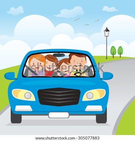 Family driving in car on holiday. Cheerful family traveling in the blue car on the road.