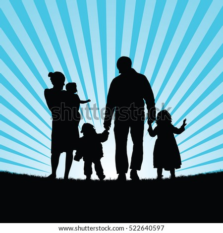 family happy with children happy in nature silhouette color illustration
