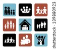 family icons over white background vector illustration - stock vector