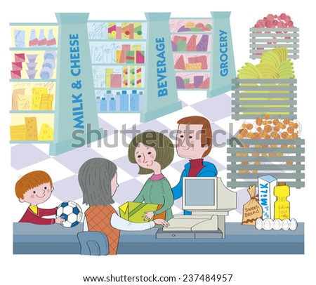 Family in a supermarket.The family is in a supermarket about cash desk. The family pays the bought goods. Illustration done in cartoon style.
