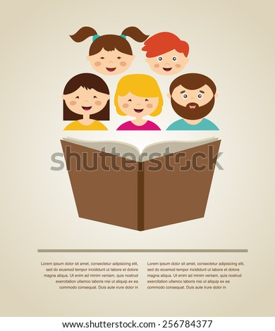 Family Reading A Book Illustration With Place For Your Text