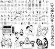Family set of black sketch. Part 6-0. Isolated groups and layers. - stock vector
