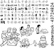 Family set of black sketch. Part 2-11. Isolated groups and layers. - stock vector