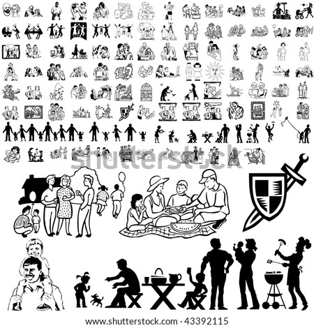 Family set of black sketch. Part 8-10. Isolated groups and layers.
