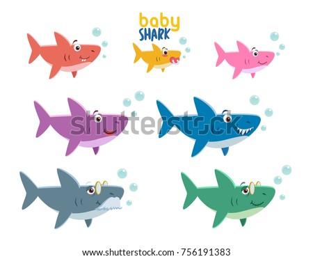 Family Shark Set Colorful Cartoon Fish Stock Vector
